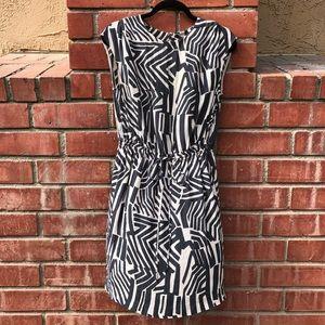 LOFT White & Grey Patterned Dress